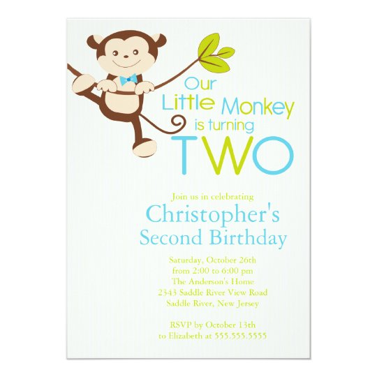 Cute Modern Monkey 2nd Birthday Party Invitations