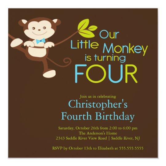 Cute Modern Monkey 4th Birthday Party Invitations