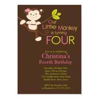 Cute Modern Monkey 4th Birthday Party Invitations