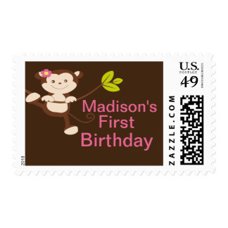 Cute Modern Monkey Birthday Postage Stamp