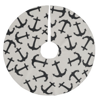 Cute Modern Navy Blue Nautical Anchors on Tan Brushed Polyester Tree Skirt