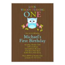 Cute Modern Owl 1st Birthday Party Invitations