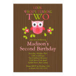 Cute Modern Owl 2nd Birthday Party Invitations