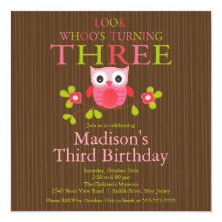 Cute Modern Owl 3rd Birthday Party Invitations