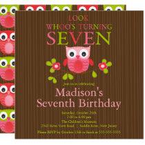 Cute Modern Owl 7th Birthday Party Invitations