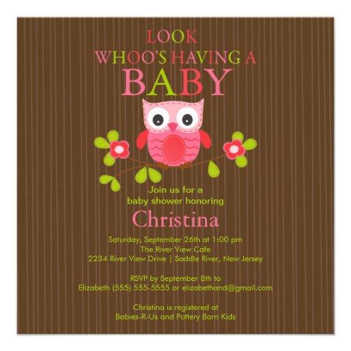 cute modern owl baby shower invitations square invitation card