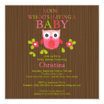 "Cute Modern Owl Baby Shower Invitations 5.25"" Square Invitation Card"