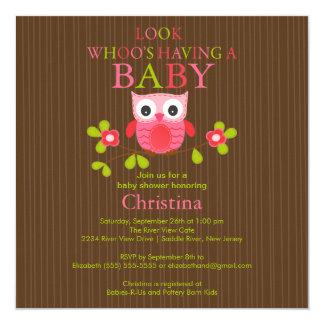 Cute Modern Owl Baby Shower Invitations