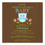 Cute Modern Owl Baby Shower Invitations