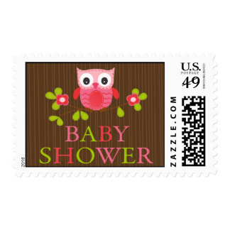 Cute Modern Owl Baby Shower Postage Stamps