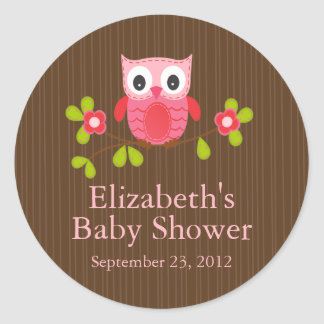 Cute Modern Owl Baby Shower Square Sticker