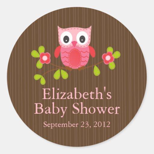 Cute Modern Owl Baby Shower Square Sticker