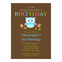 Cute Modern Owl Birthday Party Invitations