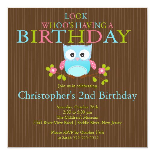 Cute Modern Owl Birthday Party Invitations