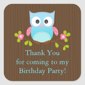 Cute Modern Owl Birthday Party Square Sticker