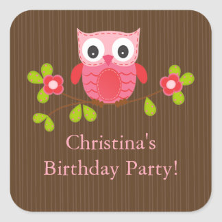 Cute Modern Owl Birthday Party Square Stickers