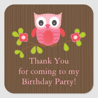 Cute Modern Owl Birthday Party Stickers