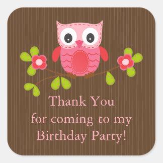 Cute Modern Owl Birthday Party Stickers