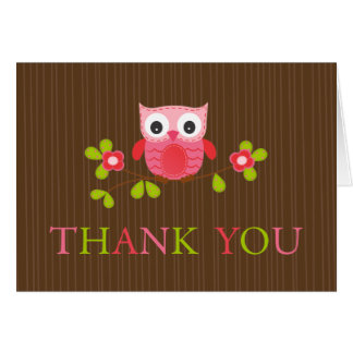 Cute Modern Owl Birthday Party Thank You Card
