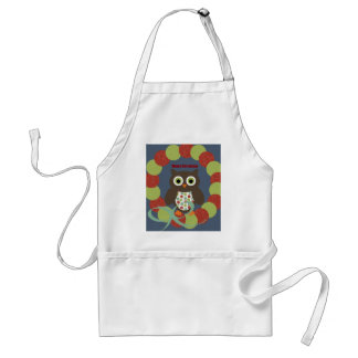 Cute Modern Owl Wreath Merry Christmas Gifts Adult Apron