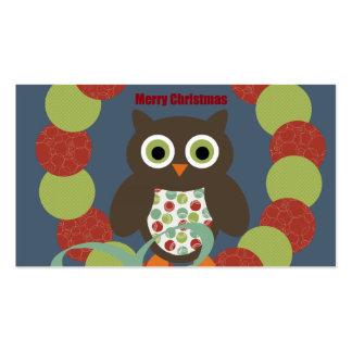 Cute Modern Owl Wreath Merry Christmas Gifts Business Card Template