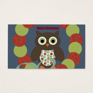 Cute Modern Owl Wreath Merry Christmas Gifts Business Card