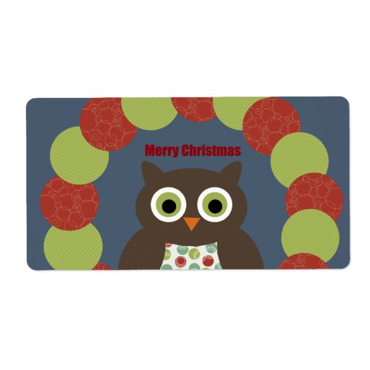 Cute Modern Owl Wreath Merry Christmas Gifts Label