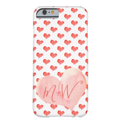 Cute Modern Pink Hearts and His and Hers Initials Barely There iPhone 6 Case