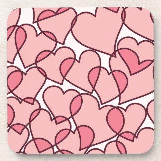 Cute Modern Pink Hearts pattern Coaster