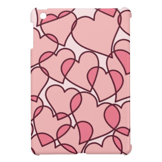 Cute Modern Pink Hearts pattern Cover For The iPad Mini