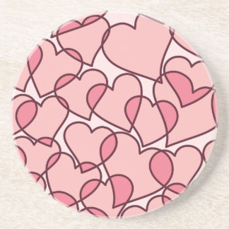 Cute Modern Pink Hearts pattern Drink Coaster
