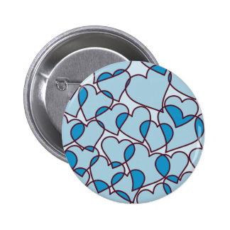 Cute Modern Pink Hearts pattern Pinback Button
