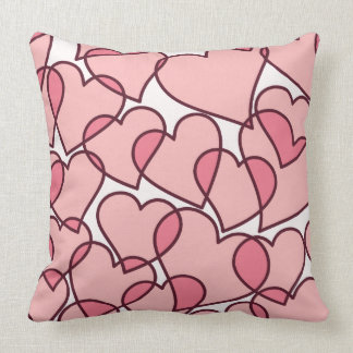 Cute Modern Pink Hearts pattern Throw Pillow