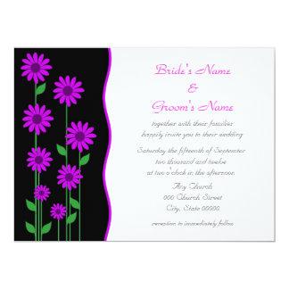 Cute Modern Purple Flowers Wedding Card