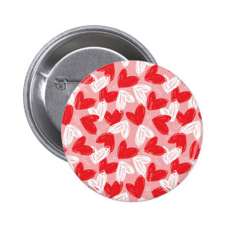 Cute Modern red and white hearts pattern Button