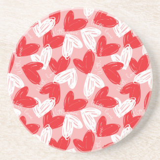 Cute Modern red and white hearts pattern Drink Coaster