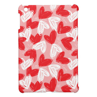 Cute Modern red and white hearts pattern iPad Mini Cases