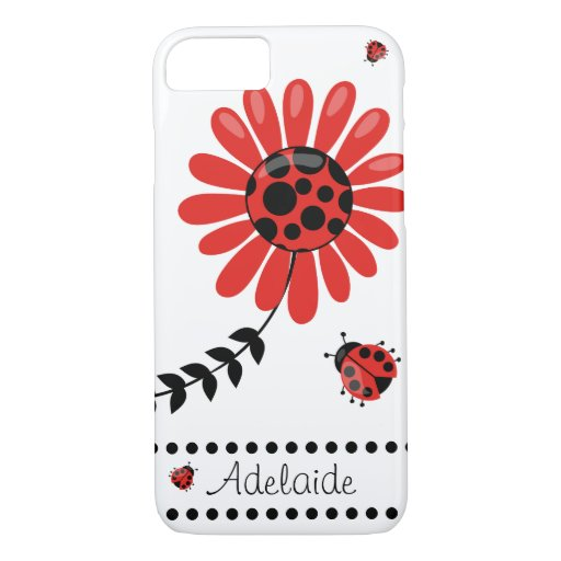 Cute Modern Red Ladybug Personalized iPhone 8/7 Case