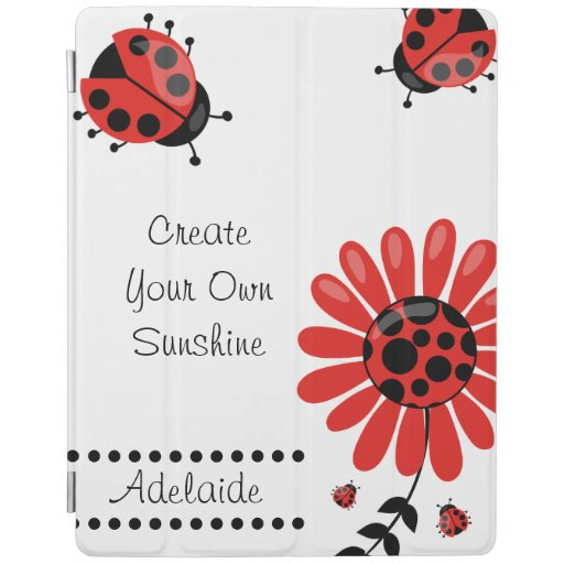 Cute Modern Red Ladybug Personalized iPad Smart Cover