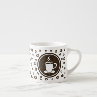 Cute Modern Steaming Cup and Coffee Beans Pattern