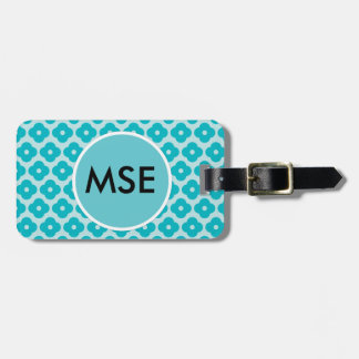 Cute Modern Teal Flower Pattern Tags For Bags