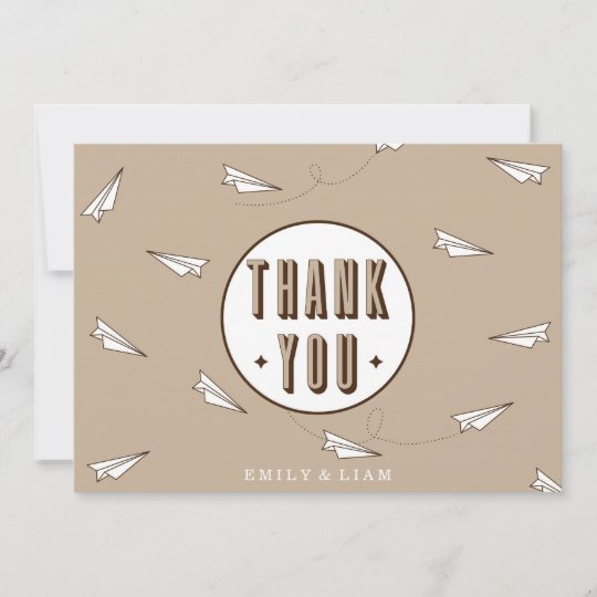 Cute Modern Thank You Card With Paper Plane Zazzle Com