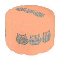 Cute modern trendy girly abstract owls pouf