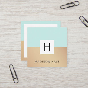 Cute business cards templates zazzle cute modern turquoise gold monogram beauty stylist square business card colourmoves