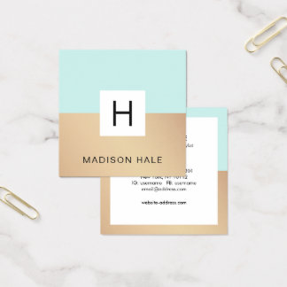 Cute Modern Turquoise Gold Monogram Beauty Stylist Square Business Card