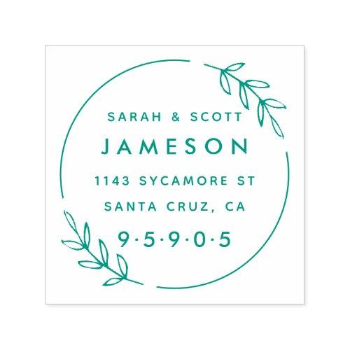 Cute Modern Wreath Married Couple Return Address Self_inking Stamp