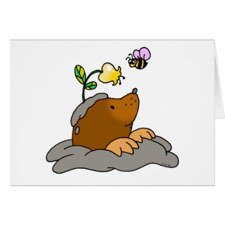 cute mole cartoon with a flower bee card