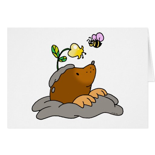 cute mole cartoon with a flower bee greeting card