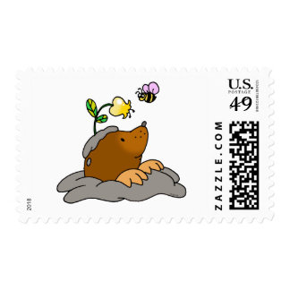 cute mole cartoon with a flower bee postage stamps