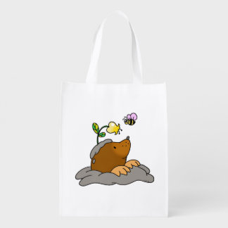 cute mole cartoon with a flower bee reusable grocery bag